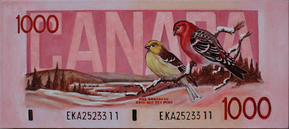 Oil on Canvas 16 x 36 Back of the 1988 Canadian Bird Series $1000 dollar bill Last issue of the Canadian $1000 dollar bill.
