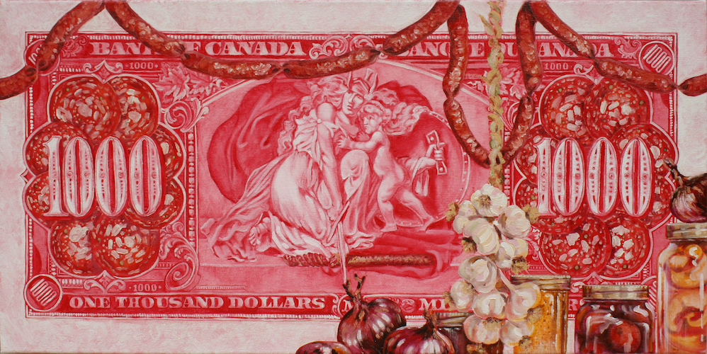 Oil on Canvas Obverse of the 1937 Canadian $1000 dollar bill with long store foods.