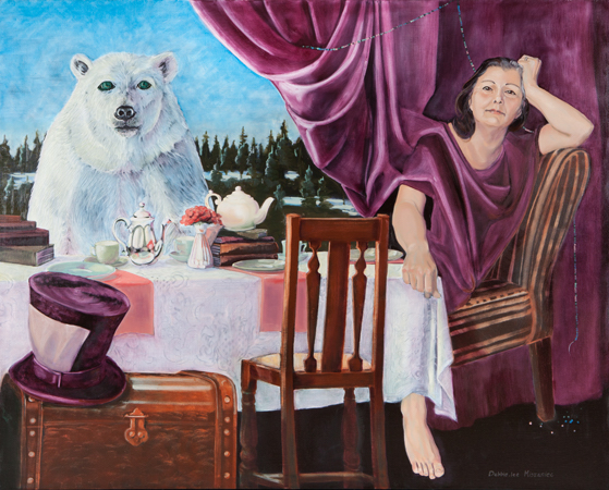 A woman and a polar bear sitting at a table